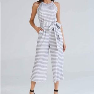 White and Light Gray Crop Jumpsuit with Tie Belt